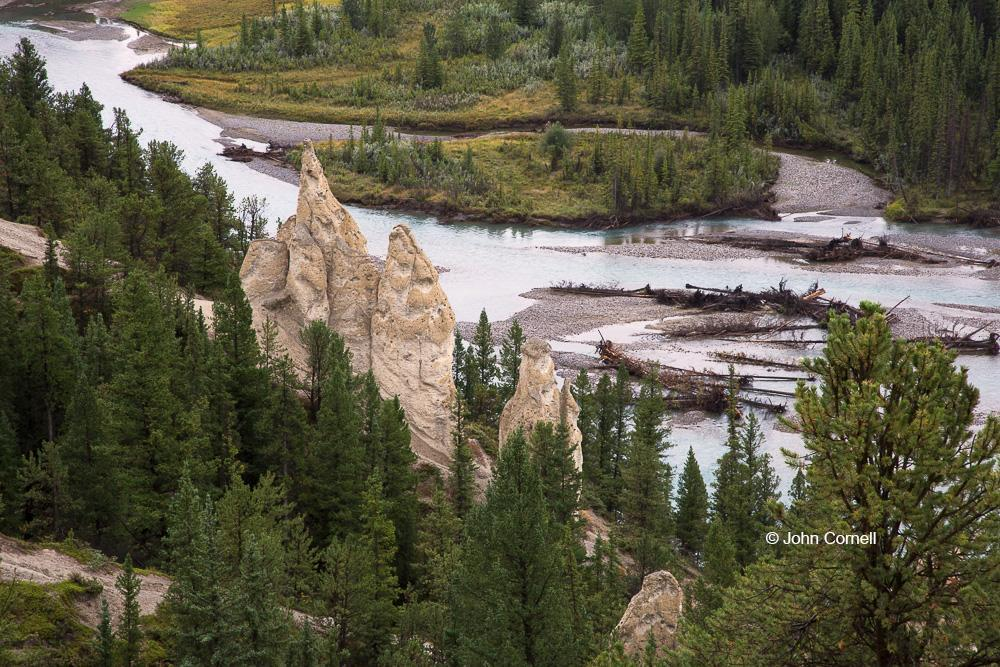 Alberta;Banff National Park;Canada;Hoodoos, Athabasca River, water, scenic overlook, trees