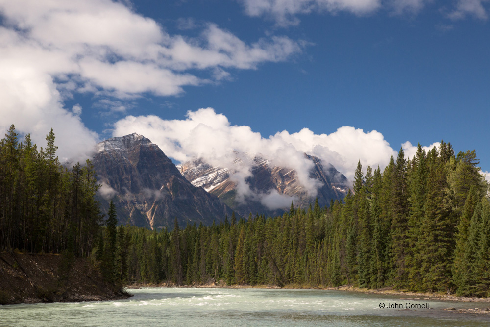 Alberta;Athabasca River;Blue Sky;Canada;Clouds;Jasper National Park;Mountains