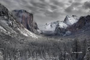 Bridal-Veil-Falls;Cathedral-Spires;El-Capitan;Half-Dome;Merced-River;Scenic;Snow