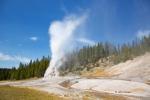 Blue-Sky;Clouds;Geyser;Lone-Star-Geyser;Yellowstone-National-Park